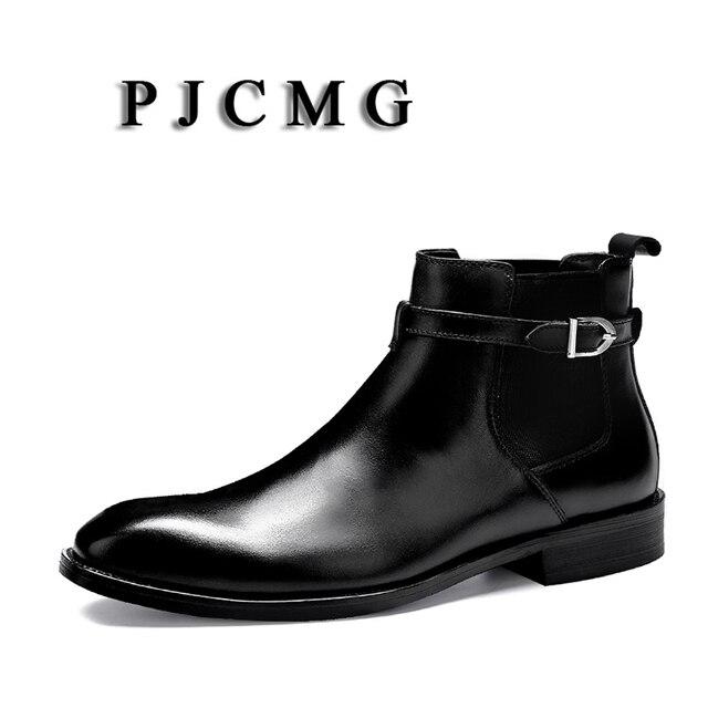 Erkekler Lüks PJCMG Marka Moda Siyah/Kırmızı Hakiki Deri Toka Tasarımcı Motosiklet Yüksek Topuk Düz su geçirmez botlar Boyutu 35- 46
