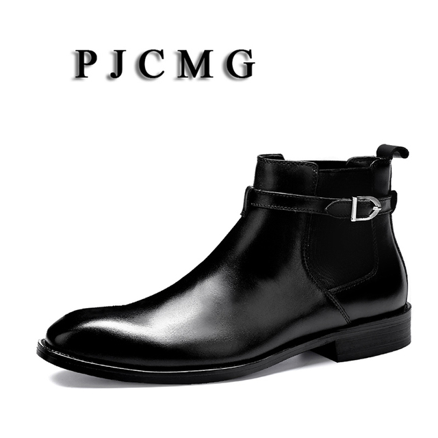 Men Luxury PJCMG Brand Fashion Black/Red Genuine Leather Buckle Designer Motorcycle High Heel Solid Waterproof Boots Size 35-46
