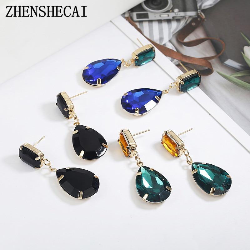 Personality Women Fashion Crystal Black Earrings Crystal Sweet Trend With Gems Drop Earrings Wedding Jewelry Gifts Girl