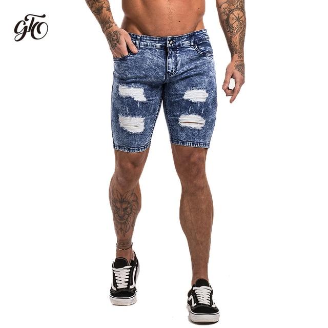 Gingtto Mens Denim Shorts Ripped Shorts Mens Blue Distressed Skinny
