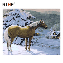 RIHE Snow Horse Diy Painting By Numbers Animal Oil On Canvas Winter House Hand Painted Cuadros Decoracion Acrylic Paint