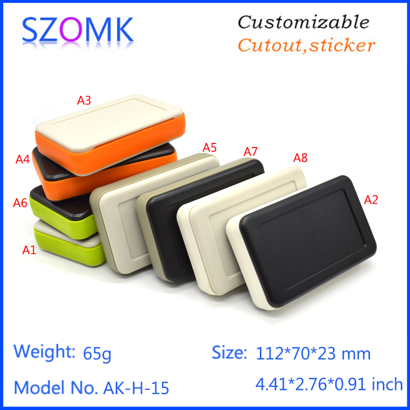 10 piece a lot, handheld enclosure 112*70*23 mm inchinstrument electronics box, hot selling abs enclosure