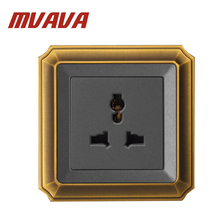 Free shipping MVAVA Multifunction Universal 3 pin wall plug socket,Luxury Decorative Bronzed Socket outlet
