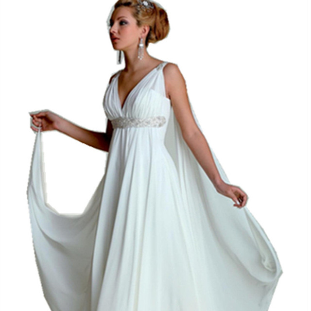 Greek Goddess Wedding Dresses V Neck Empire A Line Full Length ...