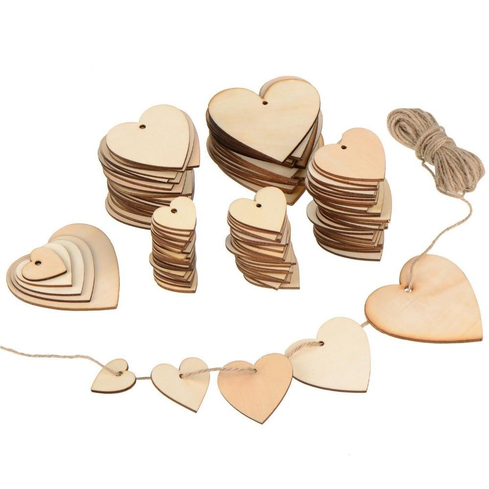 5 x Blank Wooden Craft Shapes Pattern Heart FREE Jute String! 50mm