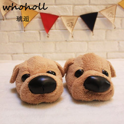 Whoholl Winter Home Funny Slipper Christmas Gift Men Cotton Cute Dog Male Plush Slipper Floor Fantufas Couple Shoe Sapato Mascul