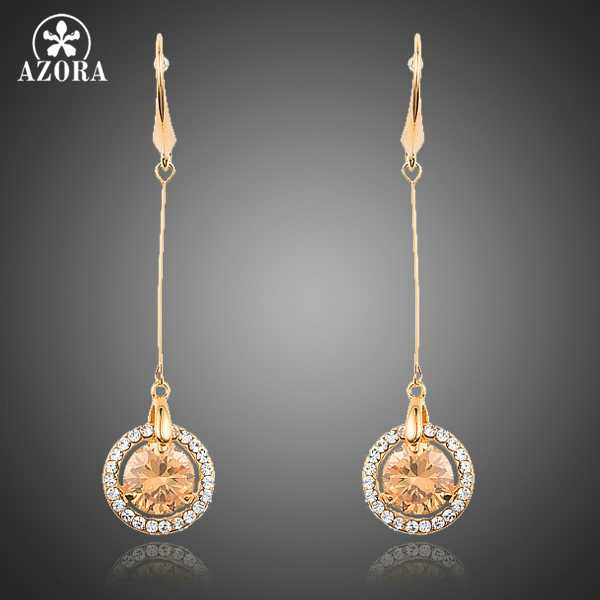 AZORA Gold Color Gold Round Cubic Zirconia Long Line Drop Fish Earrings TE0221
