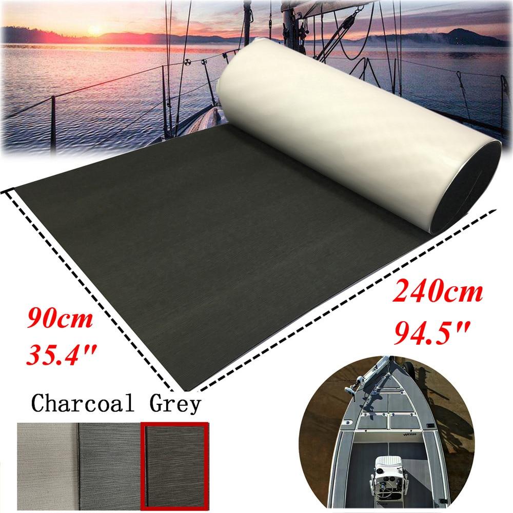Charcoal Grey Boat Teak Decking Sheet Marine Flooring With Adhesive Carpet EVA Foam Mat Pad 90x240cm Yacht Boats Accessories