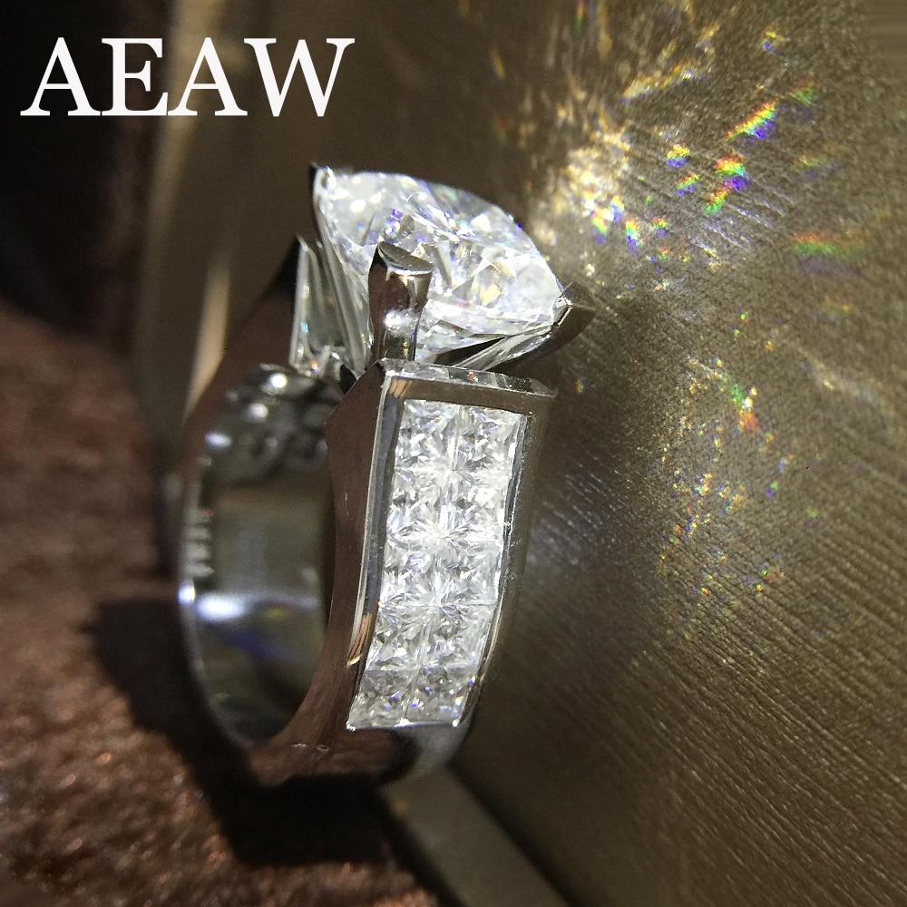 1,5 карат ct 7 мм подушки Cut обручение и свадебные синтетический бриллиант кольцо двойной Halo Подлинная К 14 к 585 Белое золото