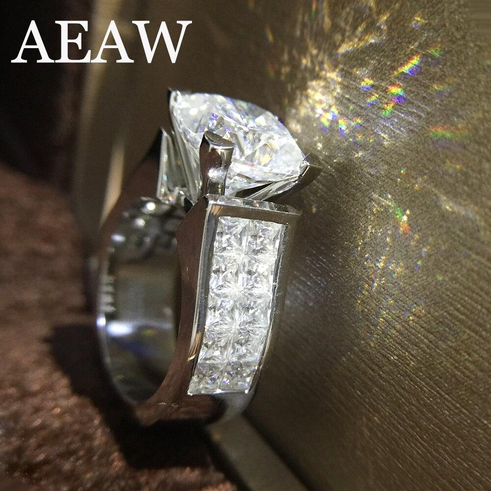 1,5 quilates ct 7mm cojín corte compromiso y boda Moissanite diamante anillo doble Halo genuino 14 K 585 oro blanco