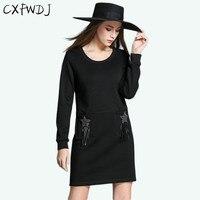 2017 Large Size M 5XL Womens Autumn Winter High End Elegant Plus Thick Tassel Straight Pocket