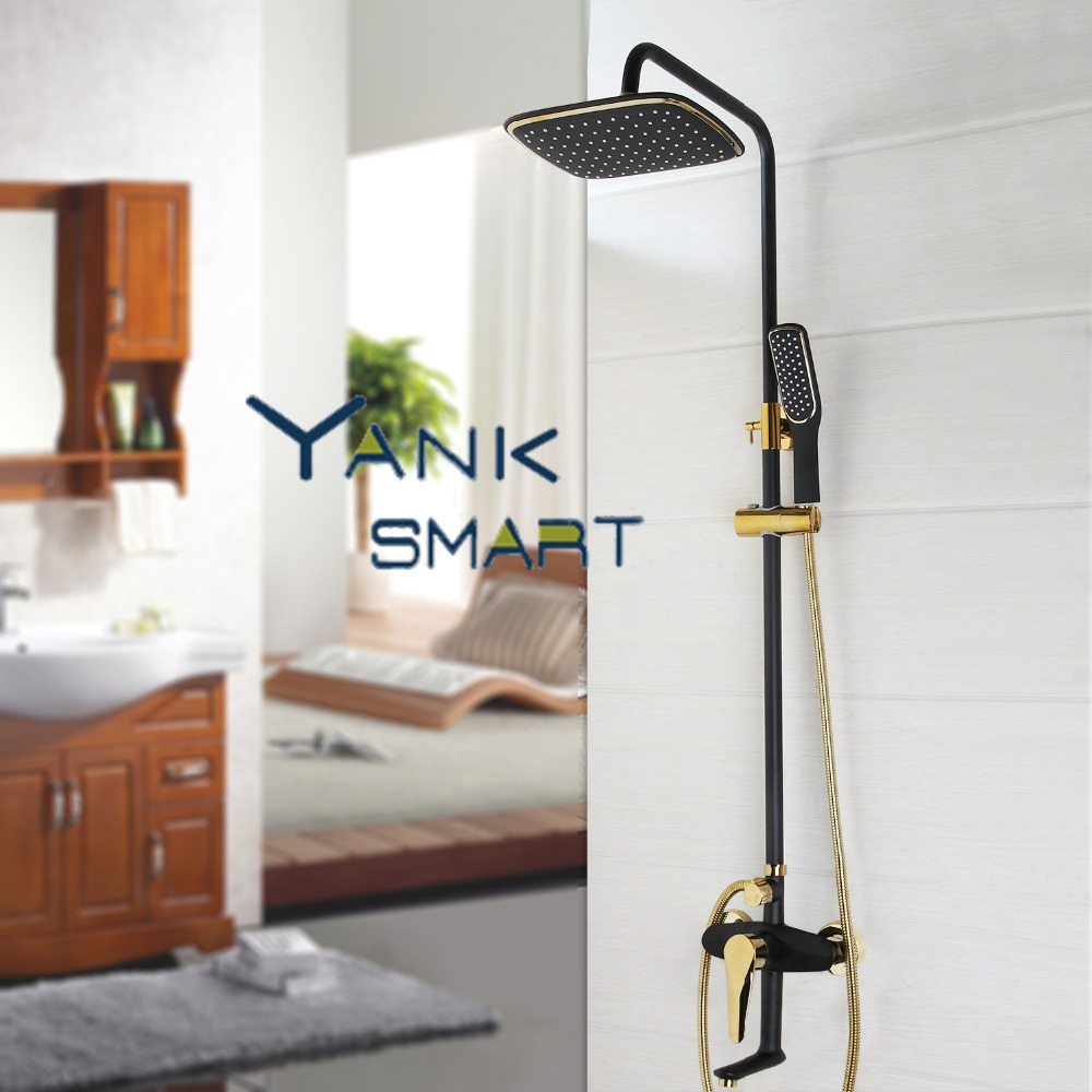 Black Gold-plated Wall Mounted Bath Shower Set Faucet Rotation Shower Head Water Saving High Pressure Shower Set диски helo he844 chrome plated r20