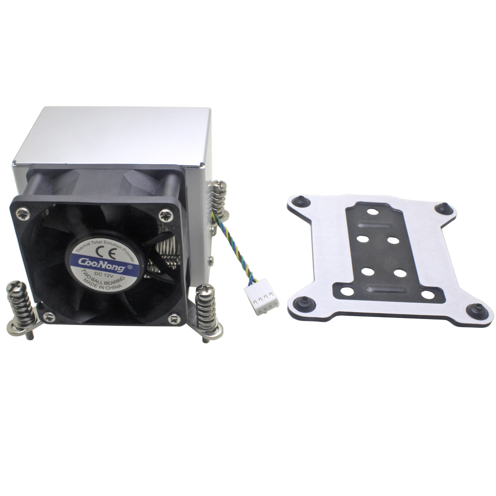 2U Server CPU Cooler Copper Base Aluminum Fin Heatsink Cooling Fan For <font><b>Intel</b></font> 1155 1156 1150 1151 Industrial computer workstation image