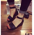 2017 summer new high-heeled sandals slope with the fish head buckle sandals Korean fashion wild wholesale