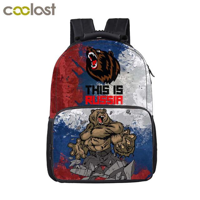bbd4805487a3 placeholder Cool Russian Bear Backpack For Teenage Boys Children School  Bags Men Travel Bbackpack Laptop Bag Kids