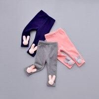 חורף תינוקות בנות פעוט סתיו ילדי מכנסיים סקיני חותלות ארנב 3D חמוד Strousers קטיפה נמתחה חותלות חמות 1-4 שנים
