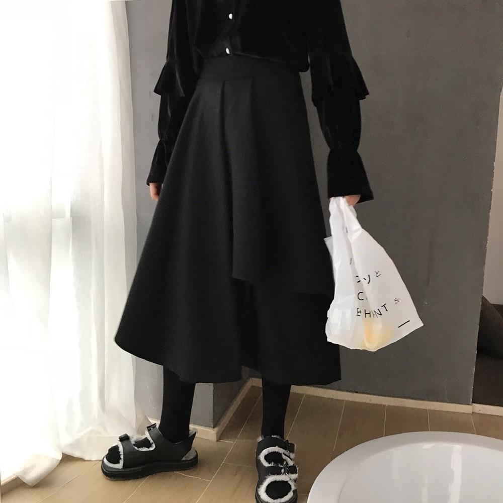 2019 Primavera De Black Nueva Moda Falda Ropa Japón Muerte Bolsillos Halfbody Wd48401 Mujer Asimétrico Irregular Estilos w4TqUx