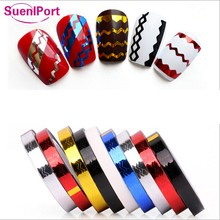 Sune l Port 5mm Nail Sticker Wavy Line Nail Stripping Line Tape Stripe Zig Zag Chevrons Design Gold Silver Black Red Blue Color(China)