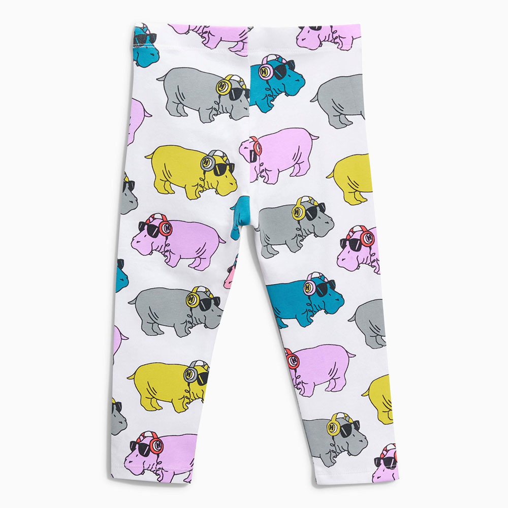 Littlemandy Pinted Hippo Girls Leggings Flower Applique Kids 100% Cotton 2018 Brand New Children Trousers Pants Clothes