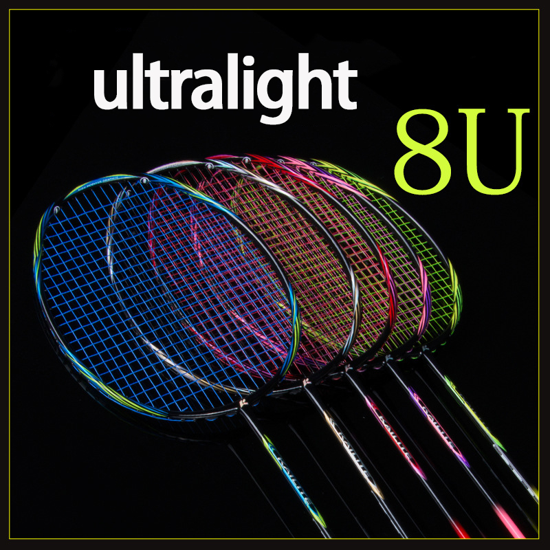Raquette de Badminton professionnelle multicolore ultralégère en Fiber de carbone 8U 65g avec raquettes de Type offensif Gags de cordes Raqueta 22-28LBS