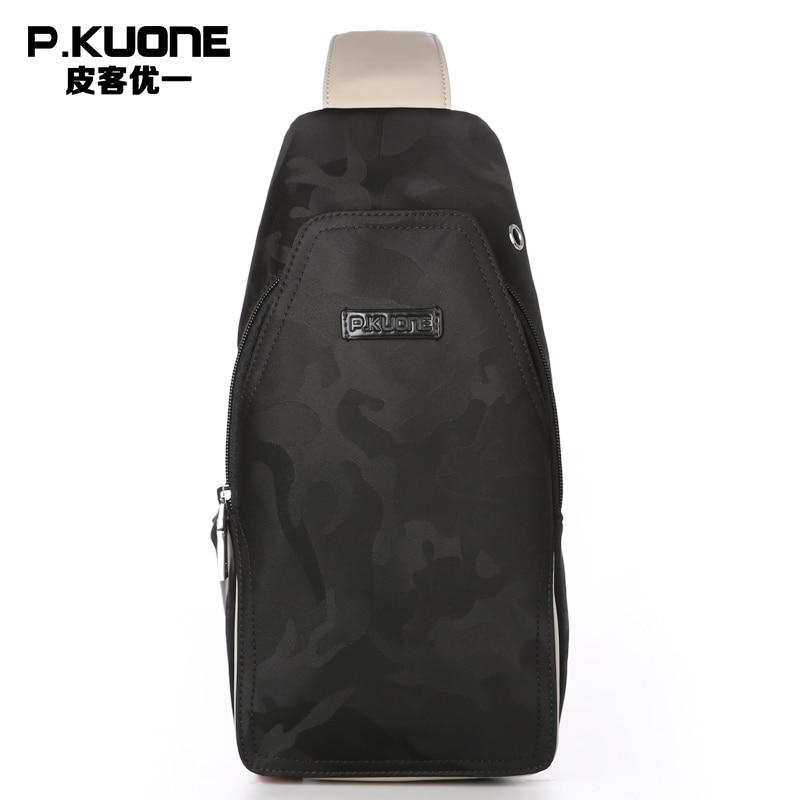 P.KUONE Luxury Men Chest Bag Famous Brands Chest Pack Handbags Messenger Military Shoulder Crossbody Bag Casual Travel Men Bag nigeer men chest bag casual shoulder
