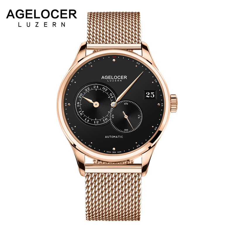 AGELOCER Swiss Brand Luxury Business Automatic Watches Men Stainless Steel Band Gold Waterproof Men Watches Male orologio uomo distressed blue jeans men latin cow brand clothing mid stripe luxury denim destoyed men s moto biker jeans ripped uomo 802 c