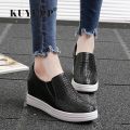 Height Increasing Women Leather Casual Shoes 2017 New Spring Summer Fashion Wedges Women Shoes Slip On Platform Shoes Woman ZD51