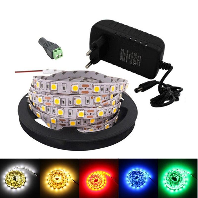 5m/rolls 2835smd LED Stirp RGB Tape Tiras Flexible Neon 5050SMD Led Rope Light Living Room 12v Addressable