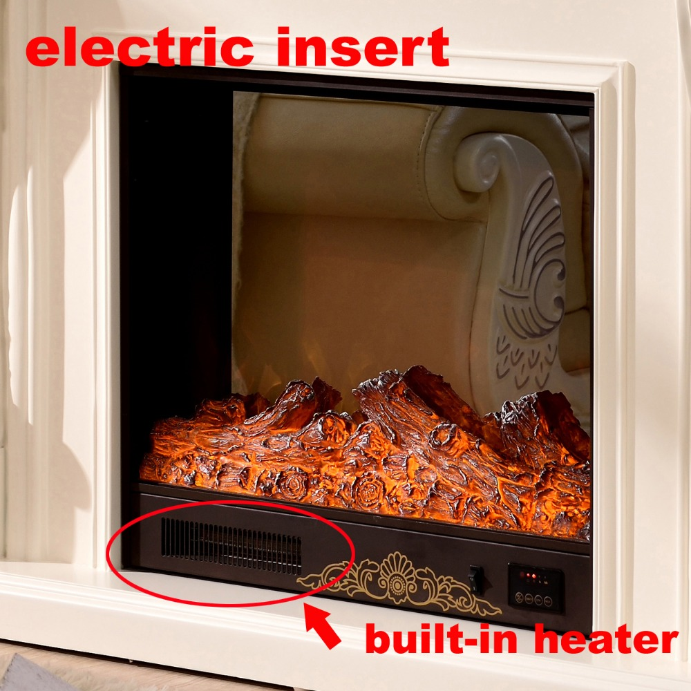 wooden fireplace mantel w140cm with electric fireplace insert