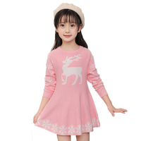 Children Girl Fall Clothes Deer Printed Winter Christmas Clothes Little Girls Knit Pullover Long Sleeves Pink
