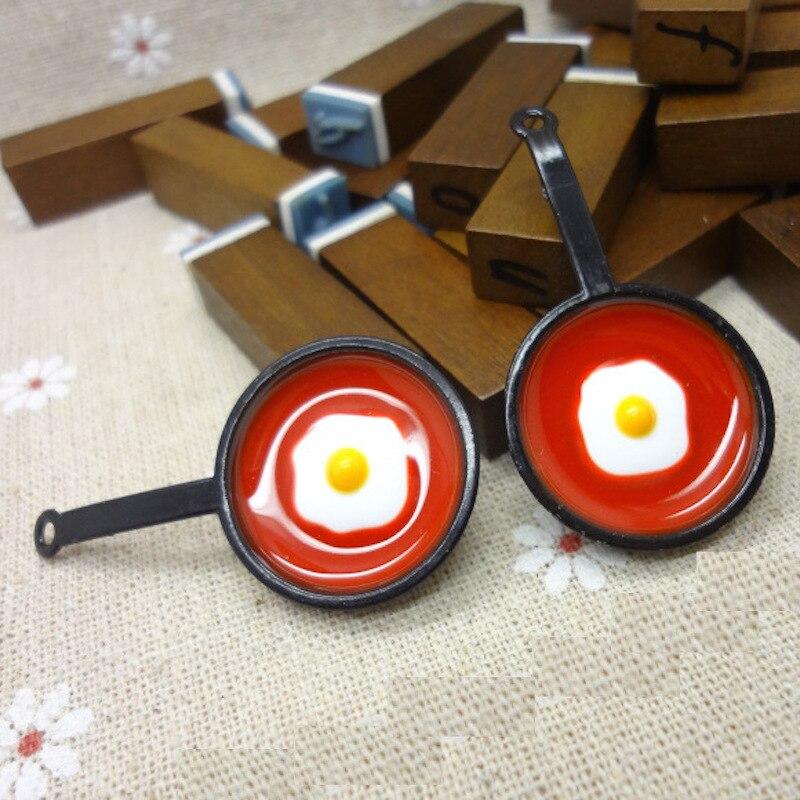 10pcs Food Oil drop Enamel Saucepan with egg Charm Pendant For Bracelet Headdress Earring DIY Metal Alloy Jewelry Accessories