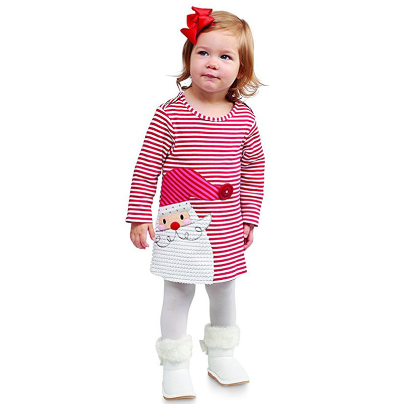 Girls Clothes Girls Dress Toddler Kids Baby Girl Santa Printed Striped Long Sleeve Princess Party Dress Christmas Clothes JY05#F christmas dress toddler kids baby girls clothes dress princess prom dress xmas striped party pageant tutu dresses