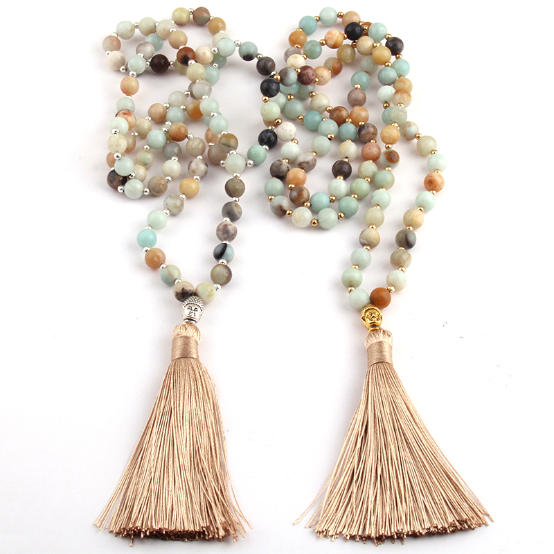 Fashion Bohemian Tribal Beige Tassel Yoga Jewelry Amazonite Stone Buddha Necklace For Women Lariat Necklaces