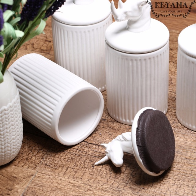 Canisters Kitchen Faucet Adapter 1pcs Keyama White Animals Ceramic Food Storage Jars Coffee Spice Decorative 20 Oz 600ml
