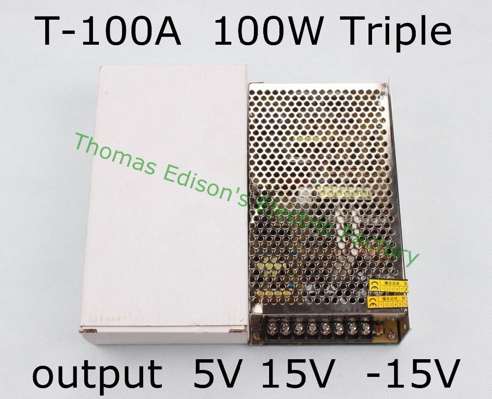 Triple output power supply 100w 5V 10A, 15V 2.5A, -15V 1A power suply T-100A  ac dc converter good quality t 120a triple output power supply 120w 5v 15v 15v power suply ac dc converter power supply switching