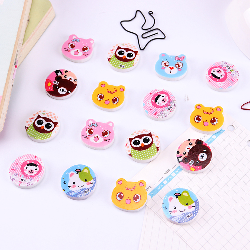 4 PCS Mini Cute Cartoon Cat Rubber Eraser Student Learning Stationery For Kids Gift School Supplies