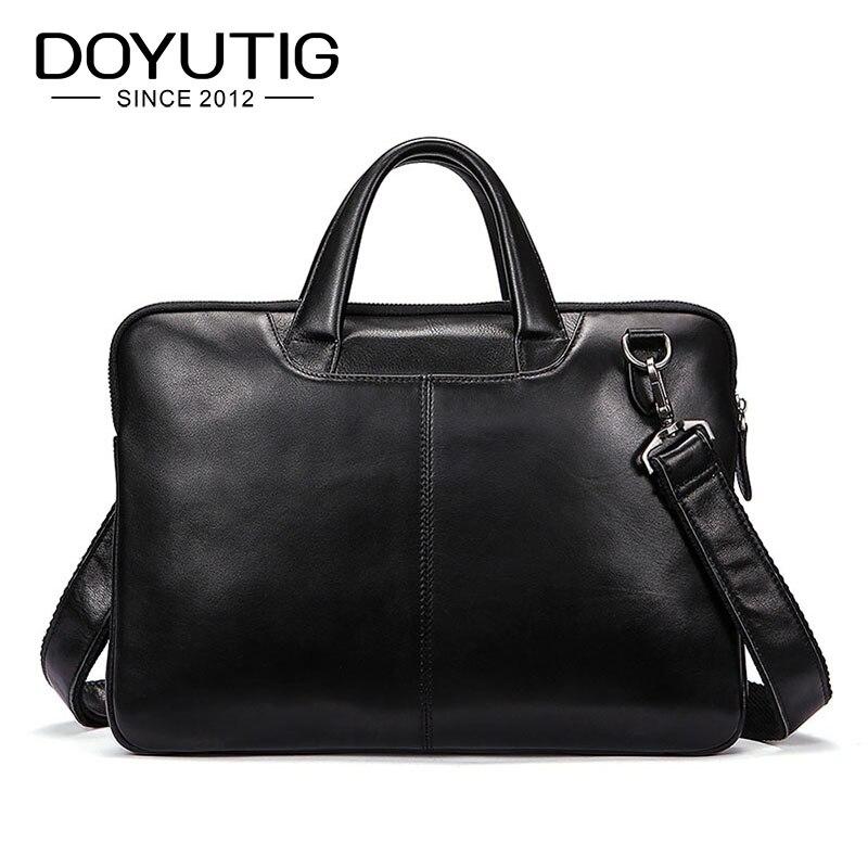 DOYUTIG luksusowe męska prawdziwej skóry czarny biznes teczki z duże i małe rozmiary moda mężczyzna komputerowy torby na ramię G124 w Teczki od Bagaże i torby na  Grupa 1