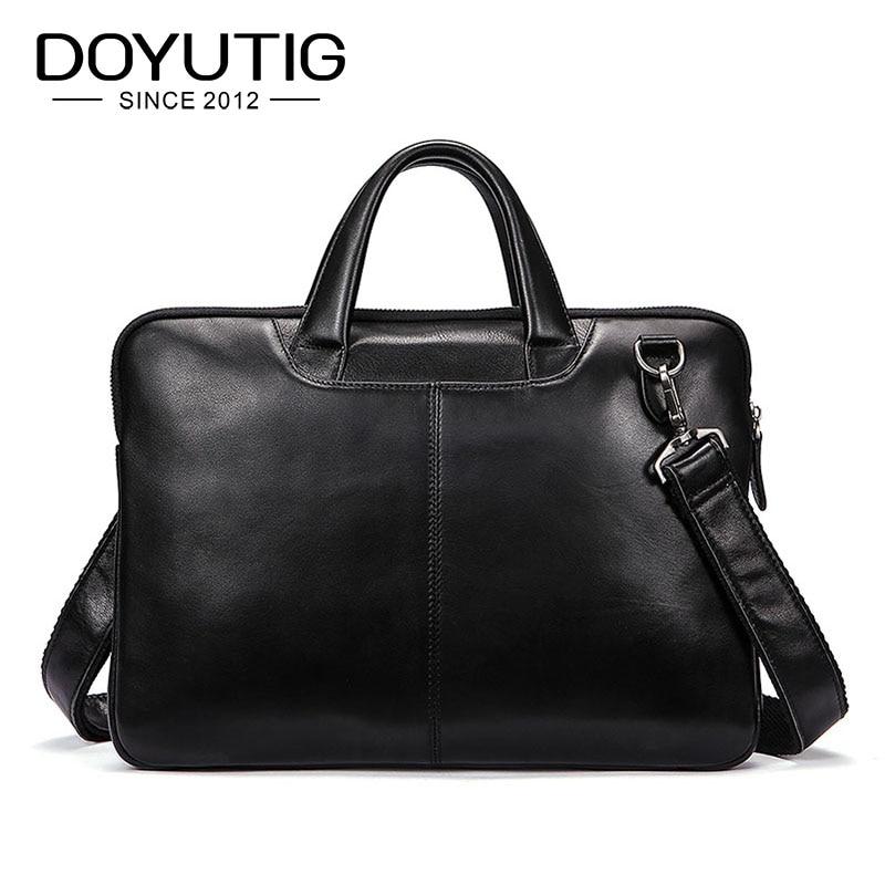Doyutig 럭셔리 남성 정품 가죽 블랙 비즈니스 서류 가방 크고 작은 크기 패션 남성 컴퓨터 어깨 가방 g124-에서서류 가방부터 수화물 & 가방 의  그룹 1