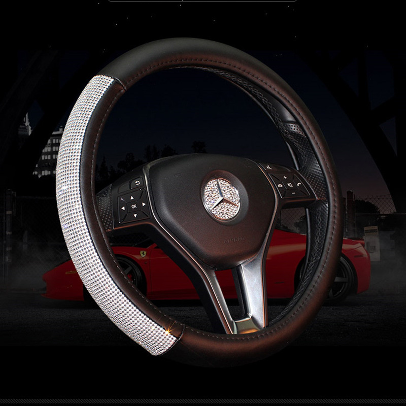 Gengine Leather Steering Wheel Cover Crystal Rhinestones Girls Car Steering-wheel Covers for Women Auto Interior Accessories