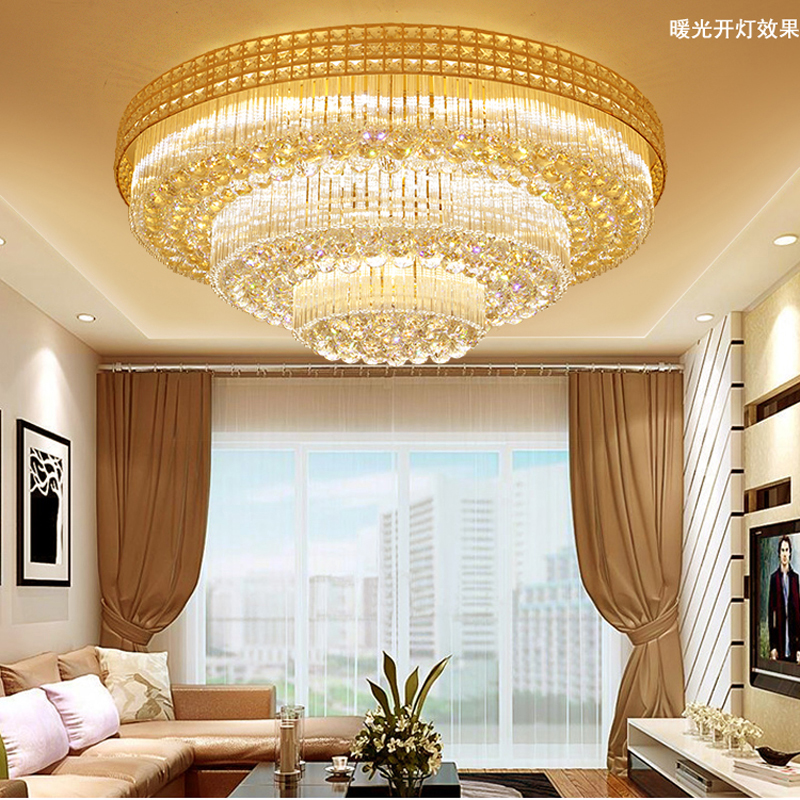 Crystal lamp circular living room lamp simple modern atmosphere home European lamps restaurant lights bedroom led ceiling lamp luxury lamp led crystal smoke gray living room restaurant bedroom modern low voltage lights circular fashion ceiling lights