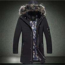 2016 осень и зима мужская вниз парки толстый длинный дизайнер теплый вниз хлопка куртка с меховым воротником ватные куртки плюс размер 6XL