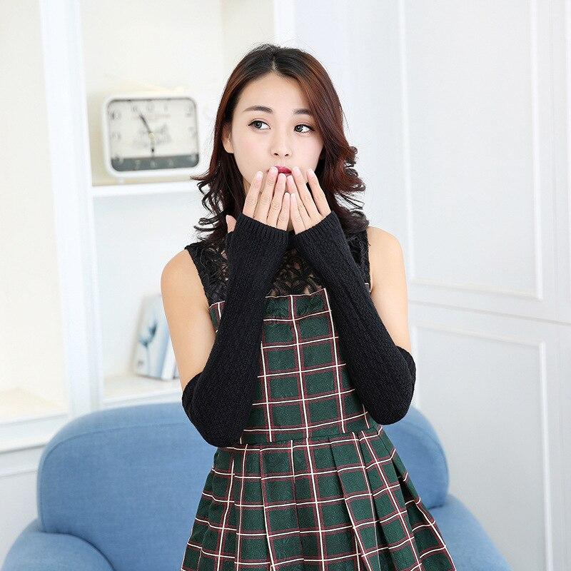 Women's Knitted Black Gloves Long Length Wrist Arm Warmer Winter Fingerless Mitten Dropshipping