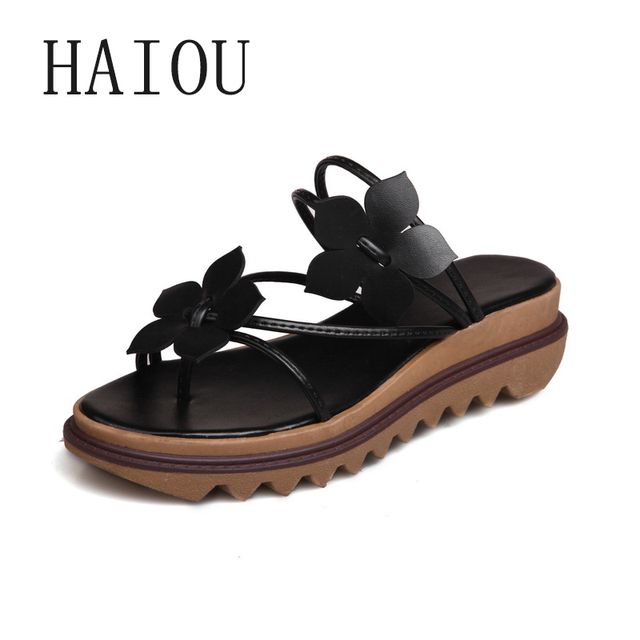 f4e26879e847 2017 Fashion Women s Flip-Flop Sandals Platform Beach Flip Flops Slippers  Sandals Swing Wedges Sandal Women Hole Shoes Big Size