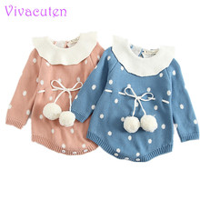 New baby knit romper Triangle Climbing Dots Thickening Lotus Leaf Collar Knitted Babies And Kazakhstan Baby