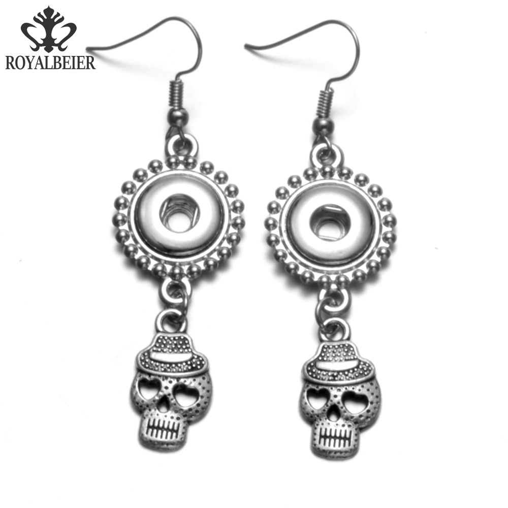 RoyalBeier 1 Pair Charm Design Skull Heads Drop Earring Silver Color Fit 12mm Snap Buttons Women Girl Dangle Earrings Jewelry image