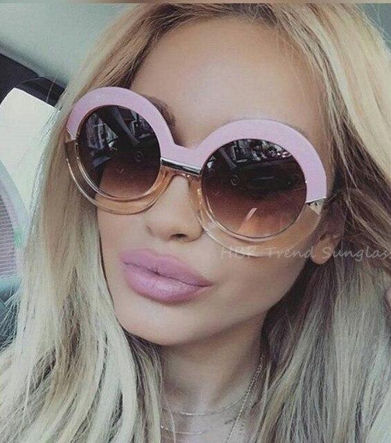 Милые Новинка 2017 года круглый элегантные модные Брендовая Дизайнерская обувь Солнцезащитные очки для женщин Для мужчин Для женщин зеркало Защита от солнца очки леди плоский негабаритных Размер очков