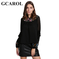 GCAROL Euro Style Embroidered Floral Women Blouse O Neck Lantern Sleeve Rayon Female Tops New Basic
