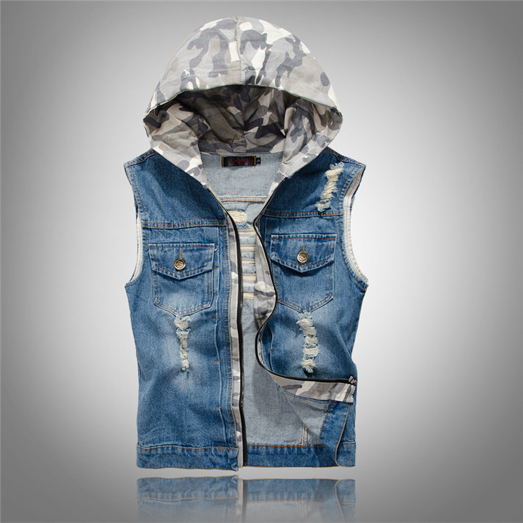 New mens fashion Slim hole jeans denim vest Menswear hooded men in camouflage vest denim ...