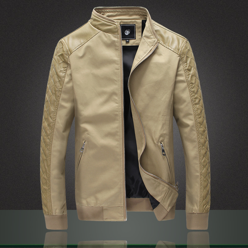 2015 New Brand Men Jacket Fashion Slim Fit Spliced Cotton PU ...