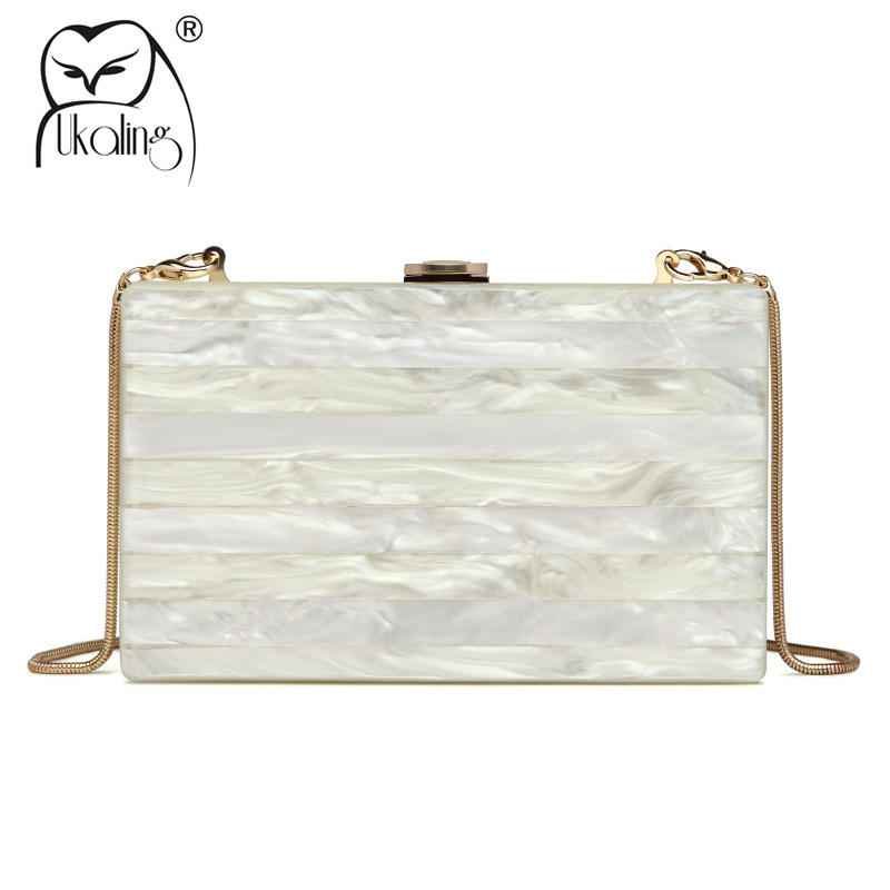 UKQLING Women Bag ABS Day Clutches Hand Bag Evening Party Wedding Purse Clutch Chain Shoulder Crossbody Bags Box Pattern small transparent acrylic clutch perfume bottle bags lady evening clutch bags chain clutches women crossbody bag